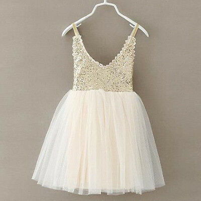 Cute Baby Kids Girls Princess Sequins Toddler Tulle Lace Tutu Party Dress Beige