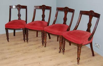 Smashing! Set of Four Edwardian Dining Chairs - Carved Fan Back & Casters
