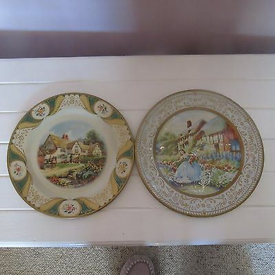 Two vintage tin plates Portland ware & willow plate ware