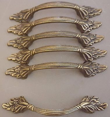 "Vintage Amerock Brass 5.5"" Leaf Design Brass Drawer Handles - Lot of 6"
