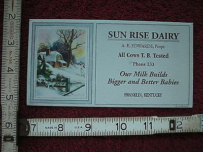 Vintage Ink Blotter- Sun Rise Dairy in Franklin Kentucky (3 Digit Phone Number)