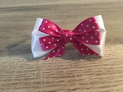 Elastic Hairband Ponytail Holder Dark Pink Bow