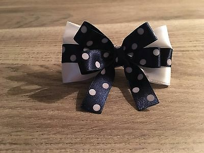 Elastic hairband Ponytail Holder Dark Blue Bow