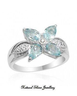 Ring 2 CT. Natural Blue Topaz 925 Sterling Silver Rhodium Finish Size 7 3/4
