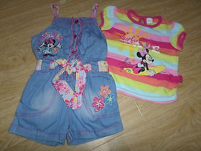 Girls Disney Minnie Mouse 2 Psc Set - T-shirt & Dungaree / Shorts, size 18-23 m