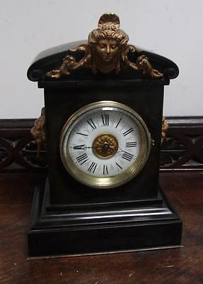 pretty small sized marble mantle clock c1900s