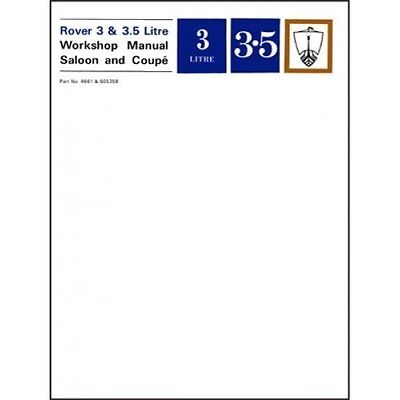 Rover 3 & 3.5 Litre Saloon & Coupe Workshop Manual P5 book paper car