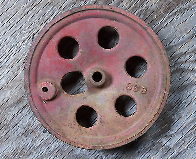 "Red SSB Cast Iron Pulley Wheel w/6 Holes & Place for Hand Crank 5.5"" Steampunk"