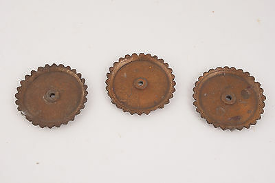 Three Small Brass Rosetter Type Ornate Metal Washers