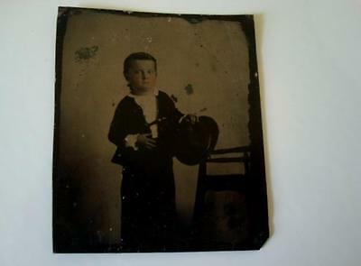 Antique Tintype Photograph Young Boy Holding Hat Ruffled Cuffs