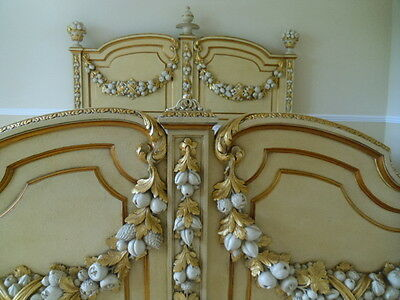 ANTIQUE FRENCH BED RARE 6ft SUPER KING SIZE CREAM GOLD LOUIS ITALIAN SLEIGH