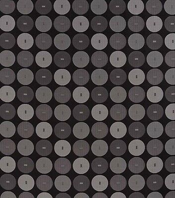Sphere(graphite) Black And Grey Curtain Fabric With Abstract Circle Design