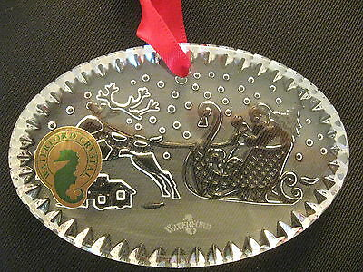 WATERFORD CRYSTAL ORNAMENT TWAS the NIGHT before CHRISTMAS SANTA in SLEIGH