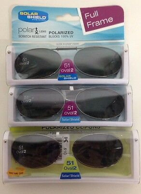 4a3722e61b4 6 SOLAR SHIELD Clip-on Polarized Sunglasses 51 Oval 2 Black lens Full Frame