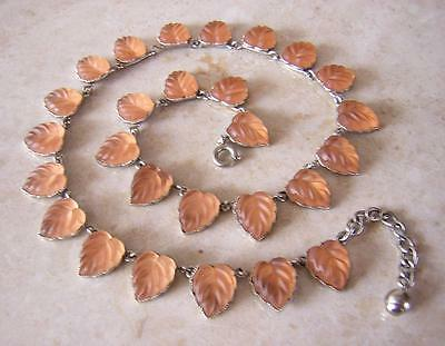 Vintage Art Deco Pink Frosted Glass  Heart Leaf Necklace - French Lalique Effect