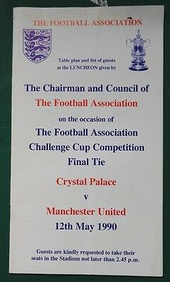 FA CUP FINAL 1990 CRYSTAL PALACE vs. MANCHESTER UNITED @ WEMBLEY 12 PAGES VIP