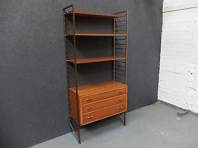 Vintage Midcentury Staples Ladderax Wall Unit with Drawers (20C388)