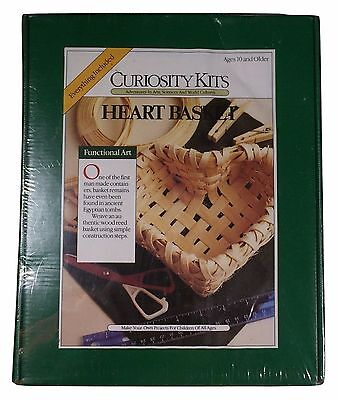 Curiosity Kits Heart Basket Everything Included Weave Wood Reed Basket New