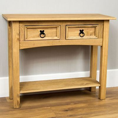 Corona 2 Drawer Console Table Shelf Mexican Solid Pine Wood Waxed Rustic Finish