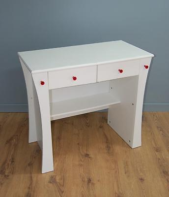 Child's White Wood Effect Desk With Two Drawers & Shelf