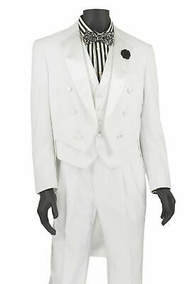 Men's Formal Tuxedo Prom Wedding Groom Suit Classic Fit With Tail White w/ Vest