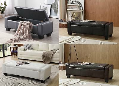FoxHunter PU Leather Ottoman Storage Bench Footrest Stool Lift Top Home Seat Box