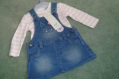F&F - 'NEW' Girls Denim Pinafore & Pink Striped Top - age 3-6mths