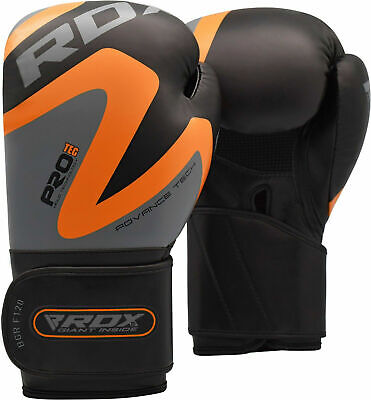 RDX Orange Boxing Gloves Mitts Punching Bag MMA Training Sparring Kick Muay Thai