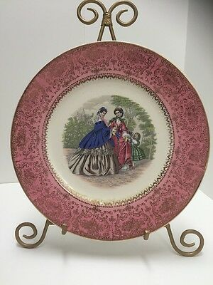 Victoria Hand Painted 29 karat Gold-Inlaid Antique Plate