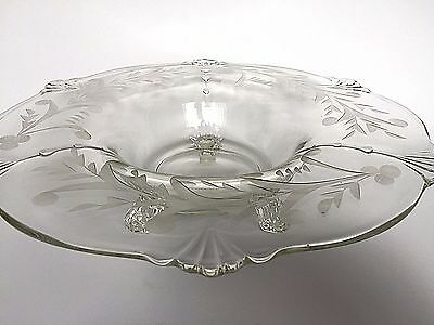 Vintage Clear Smooth Etched Glass 3 Toed Center Console Floral Bowl