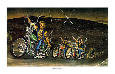 Dave Mann Ed Roth Studios Print Poster Hollywood Run Motorcycle Chopper