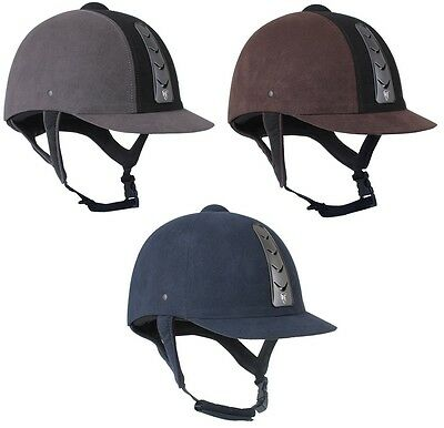 Horka Adults Safety VENTILATED Horse Riding Helmet Hawk Suede VG1 56-61cm