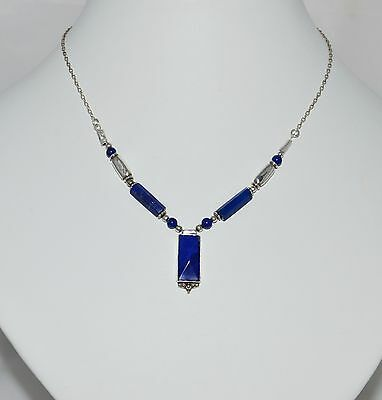 Vintage Jewellery Silver And Lapis Lazuli Bead Necklace