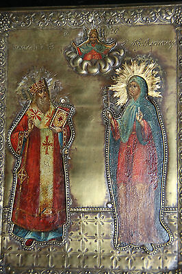 Original Antique 1700s Russian Icon in Oklad Excellent condition 18cm x 14cm