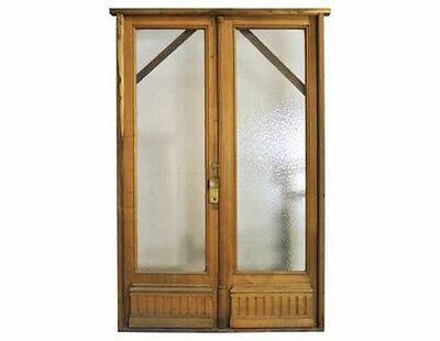 Antique Double Glass Patio Door Textured Glass #C1494