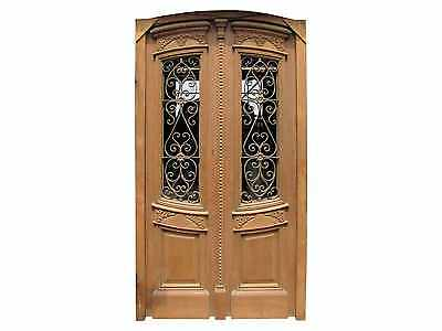 Antique Curved Double Front Door Wrought Iron Insert #A1275