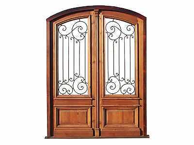 Arched Double Entry Door Made Heart Pine Wood #B1033c