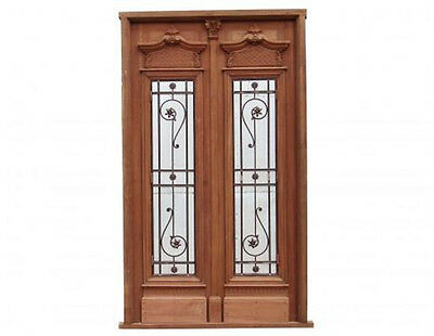 Antique Double Front Door Wrought Iron Inserts #A1351