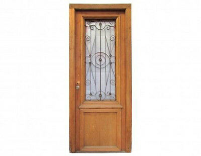 Antique Single Front Door w/ Wrought Iron Inserts #D1050