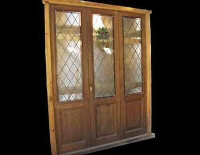 Triple Stained And Leaded Glass Door #4153