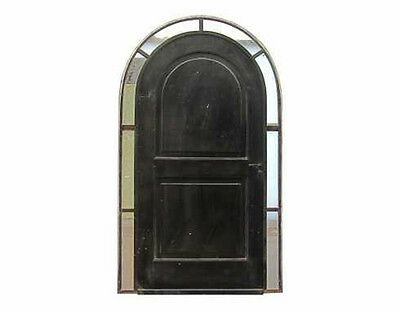Wrought Iron Arched Single Door w/ Narrow Sidelight Border #C1071