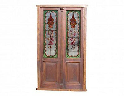 Restored Stained Glass Double Door Hand Etched Glass #4750