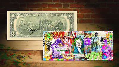 BATMAN GOTHAM CITY Rency / Banksy ART on GENUINE Tender U.S. $2 Bill HAND-SIGNED