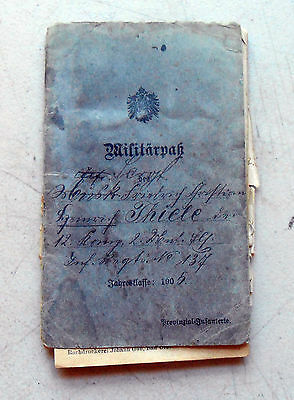 Original Imperial German Militarpas Issued in 1905 Named to Thiele W/ WW1 Dates