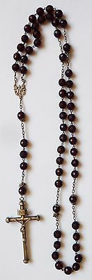 RARE ANTIQUE HUGE SILVER ROSARY garnet BEADS chapelet avec grenats