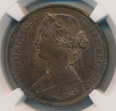 Great Britain Penny 1860 Toothed Borders - NGC MS 63 RB