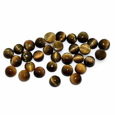 10 PIECES OF 3mm ROUND CABOCHON-CUT NATURAL AFRICAN GOLDEN TIGERS EYE GEMSTONES