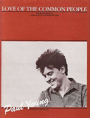 Love Of The Common People - Paul Young - 1983 Sheet Music