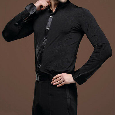 Men's Formal Dancewear Jazz Latin Dance Shirt Modern Ballroom Tops Show Costume