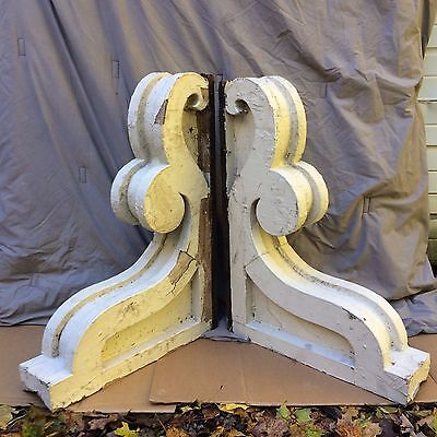 Pair Large Antique Corbels Entrance Door Roof Bracket Vintage 1912-16